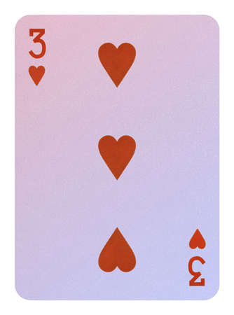 Playing cards, Three of hearts Stock Photo