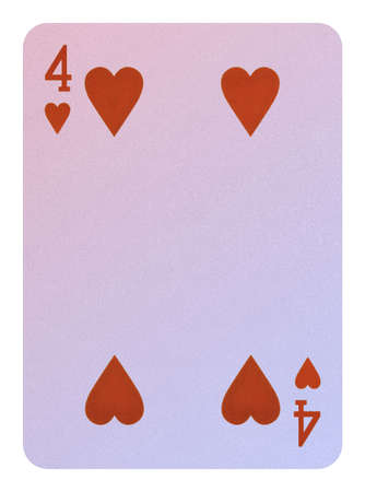 Playing cards, Four of hearts