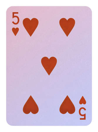 Playing cards, Five of hearts