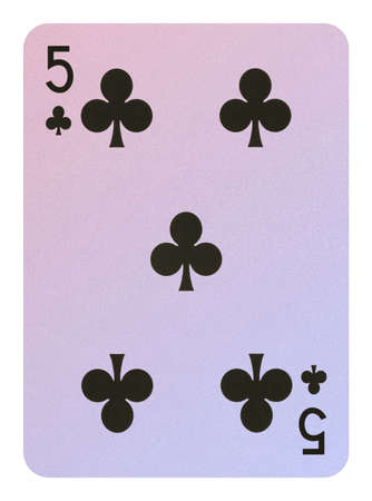 Playing cards, Five of clubs Stock Photo