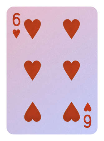 Playing cards, Six of hearts