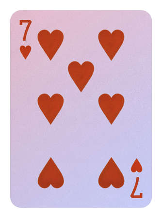 Playing cards, Seven of hearts Stock Photo