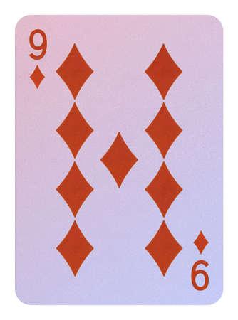 Playing cards, Nine of diamonds Stock Photo