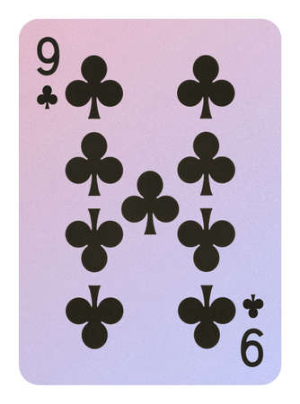 Playing cards, Nine of clubs Stock Photo