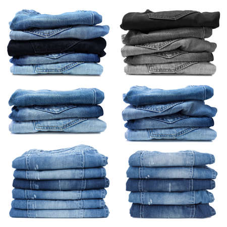 Stack of jeans isolated on white background Stock Photo