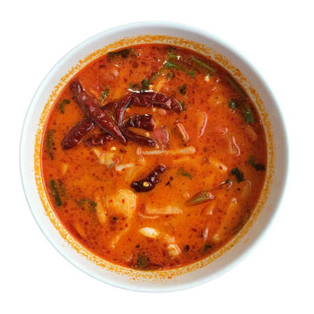 Thai red seafood tomyam soup
