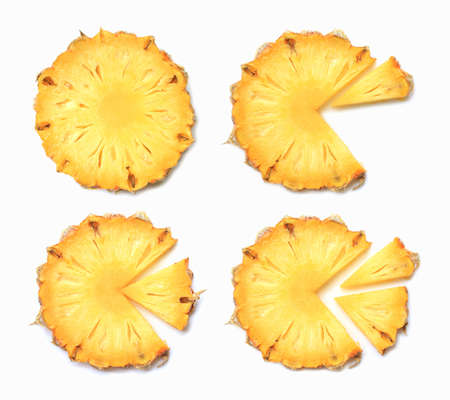 Fresh pineapple slices on white background