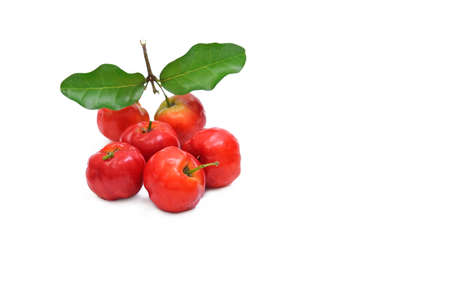 scurvy: Barbados cherry fruit isolated on white background.