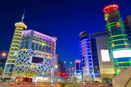 Night cityscape and traffic with skyscraper in seoul, South Korea. Stock Photo