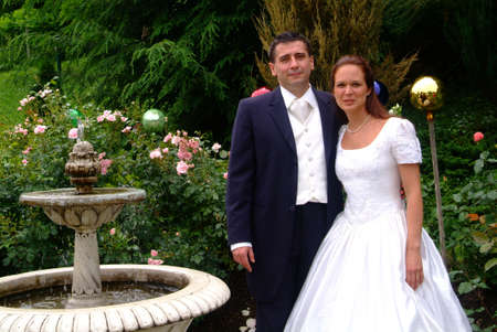 embracement: marriage - pair in garden