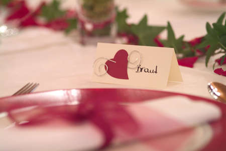 place card on decorated table photo