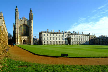 cambridge uni 1 with church and green lawn Stock Photo