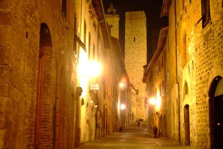 clinker tile: yellow lane latern by night