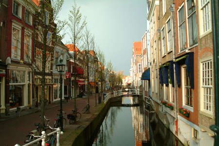 a canal in a netherlands town Stock Photo