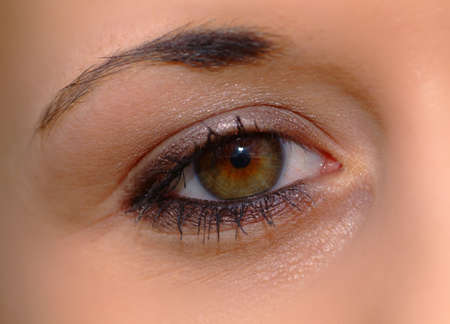 eye of a woman with brown iris
