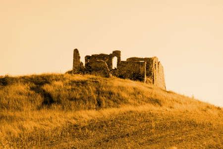 ruin on hill Stock Photo