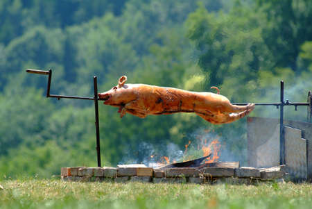 suckling pig: suckling pig on spit outside Stock Photo