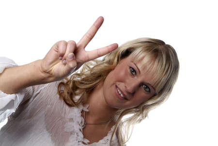 gorgios: a young woman shows the victory sign