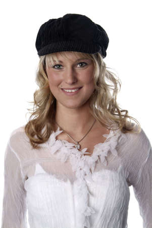 a young woman with a black cap and white background