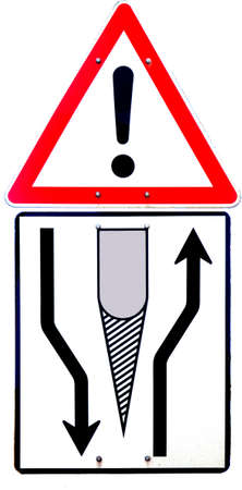 deviate: a traffic  board with black pictogram on it