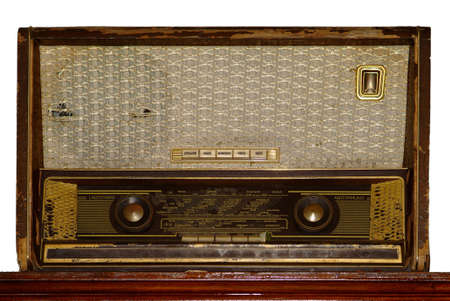 antik: an old antik brown radio frontside Stock Photo
