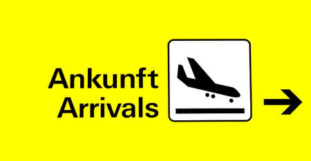 arrival board at the airport in german and english Stock Photo - 753640