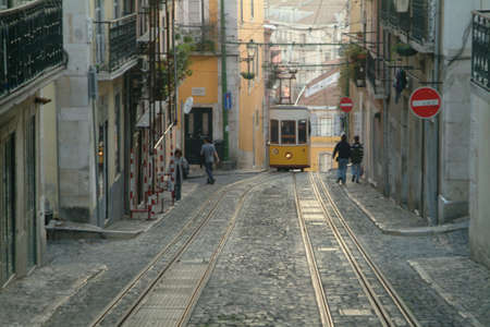 one yellow elevador da bica in lisboa