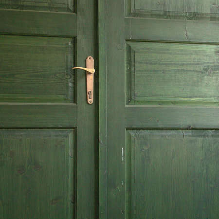 a closed green wooden door with golden opener