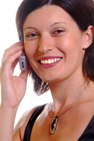 a friendly woman calls with a mobile phone Stock Photo