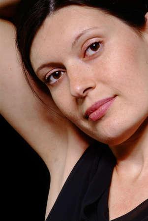 a portrait of a friendly woman Stock Photo