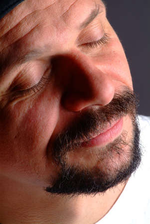 eyes shut: a man with attention and closed eyes Stock Photo