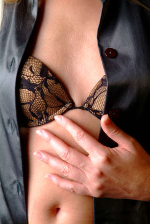 women over body with bosom with a black bra