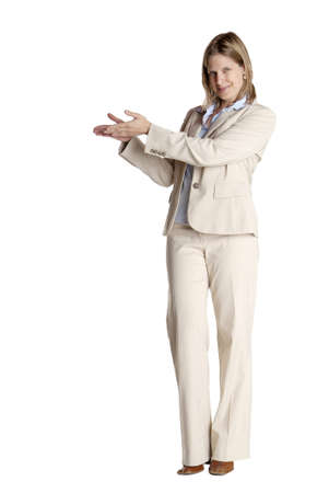 gorgios: a standing woman shows with her fingers Stock Photo