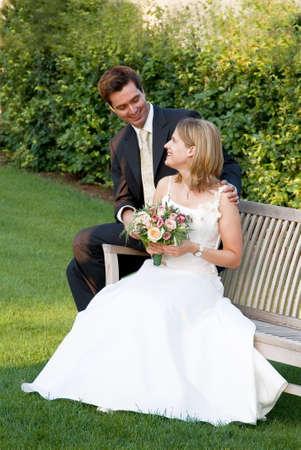 gorgios: a marriage pair is happy in a green park