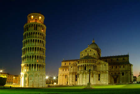 night photograph of the Leaning Tower of Pisa and Cathedral