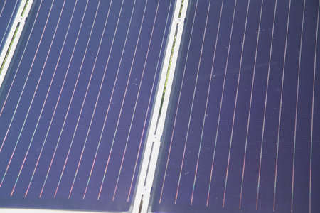 electricity tariff: the details of a black a solar panel Stock Photo