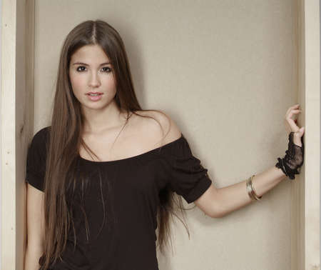 a beautiful woman with long brown hair Stock Photo