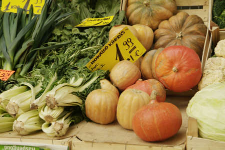 orange pumpkin and other vegetable on wooden box photo