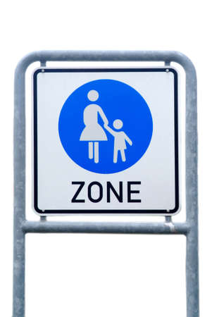 a traffic board shows the begin of the pedestrian zone Stock Photo