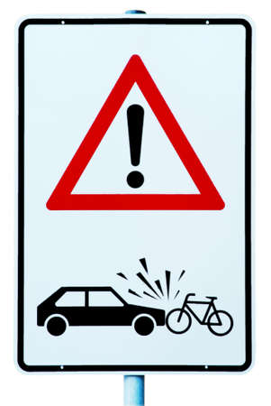 bicycle pedal: traffic sign with attention danger of accident car and cyclist