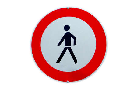 the traffic sign shows the prohibition for pedestrians photo