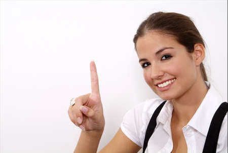 a standing woman shows with her fingers Stock Photo
