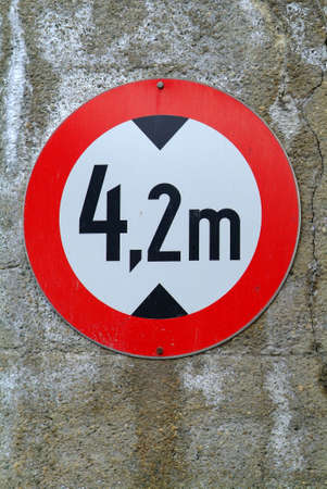 a traffic sign for 4,2 m altitude limitation photo