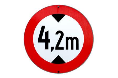 endangerment: a traffic sign for 4,2 m altitude limitation