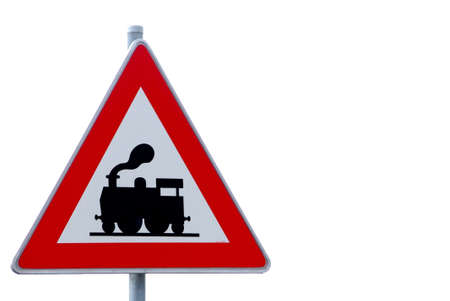 a traffic sign with attention train in sixty meters