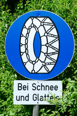 traffic sign using snow chain when snowimg or ice photo