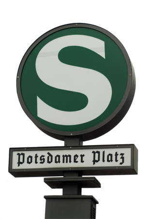 a road sign shows the stop at the Potsdamer Platz