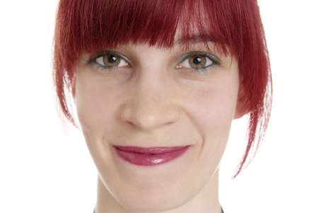 sneer: a friendly woman with red hair laughs