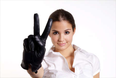 gorgios: pretty woman with long hair and black leather glove