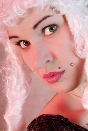 friendly woman with white peruke and piercing photo
